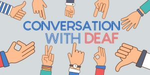 deaf community with sign language interpreter